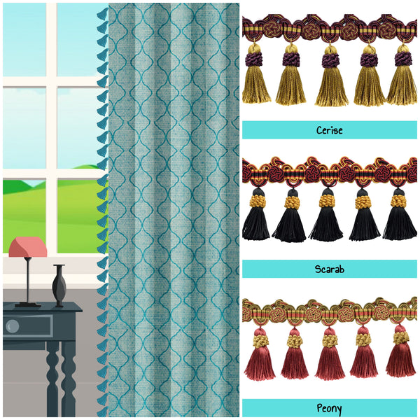 custom length drapes with tassels window curtains