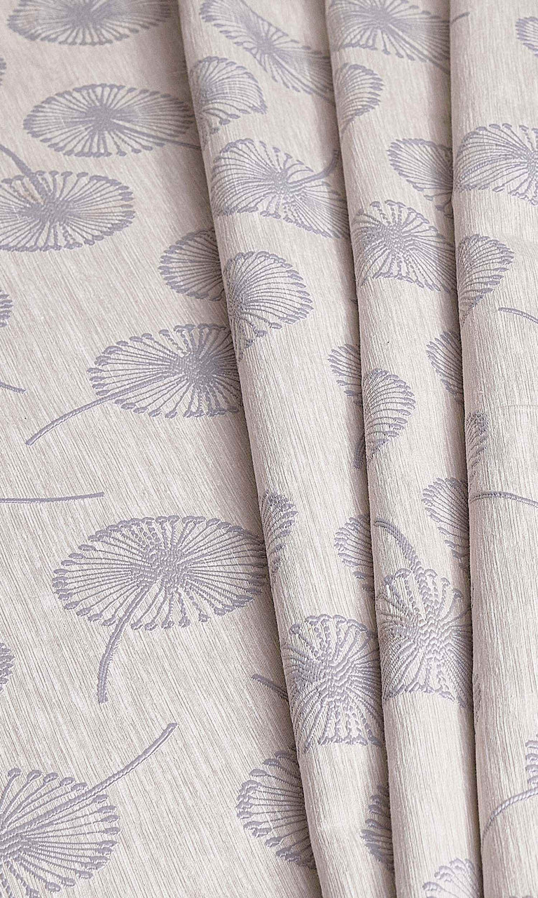 Grey Contemporary Floral Prints custom Curtains I Extra Long