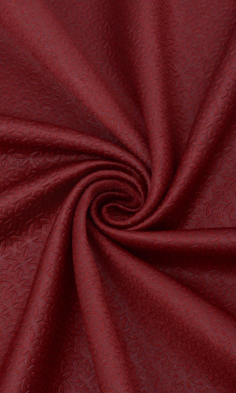 Textured Maroon Room Darkening Blackout Curtains Image. Narrow Curtains.