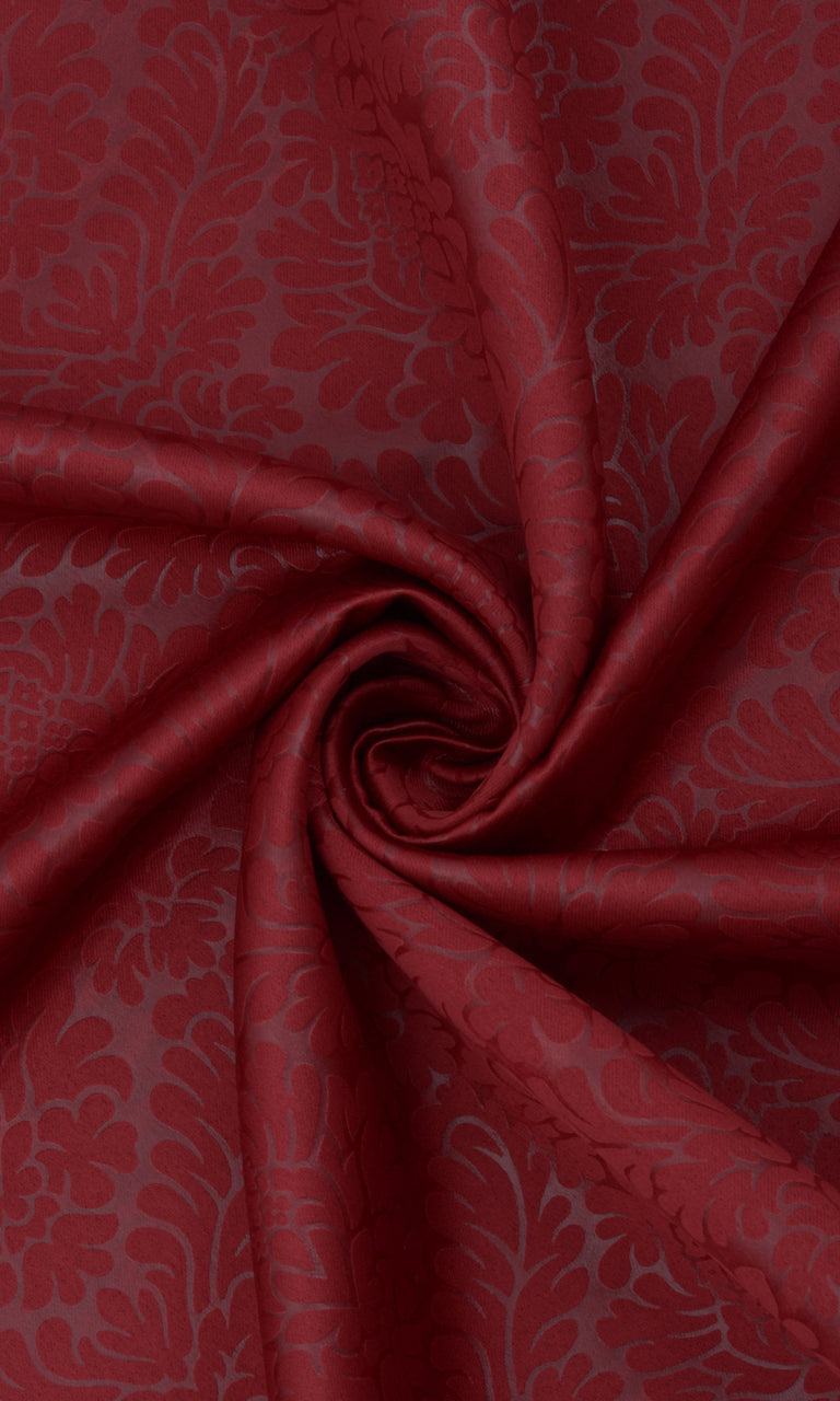 Floral Textured Maroon Red Room Darkening Blackout Curtains Image