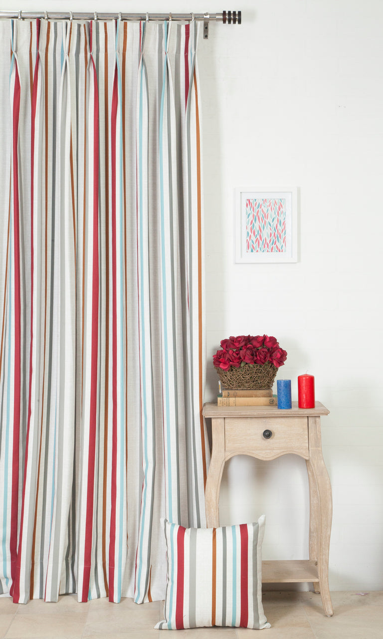 multicolor striped custom curtains image. Narrow Curtains.