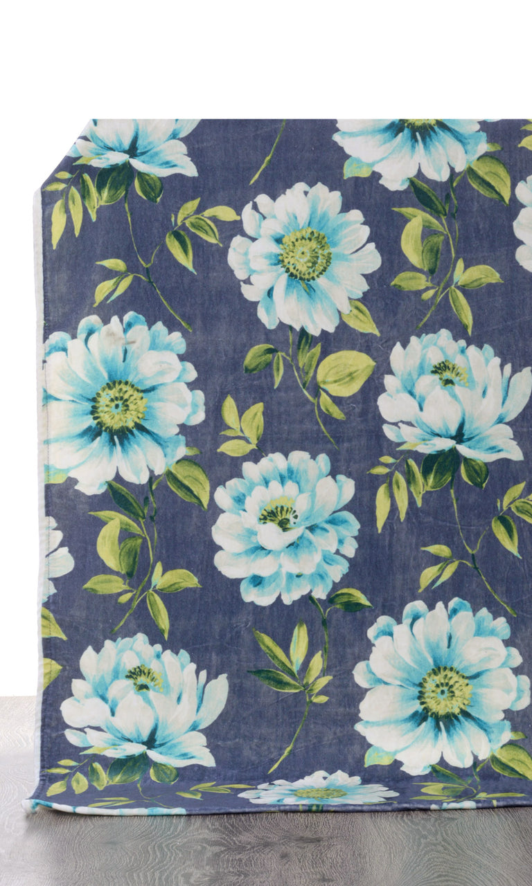 Blue Velvet Floral Print custom Curtains