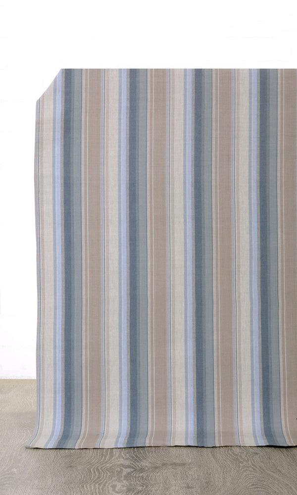 Extra Wide I navy blue brown custom cotton curtains image