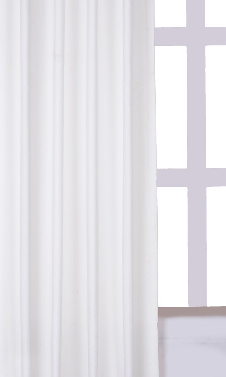 Home Décor Handstitched White Bedroom Nursery Media Room Curtains Image