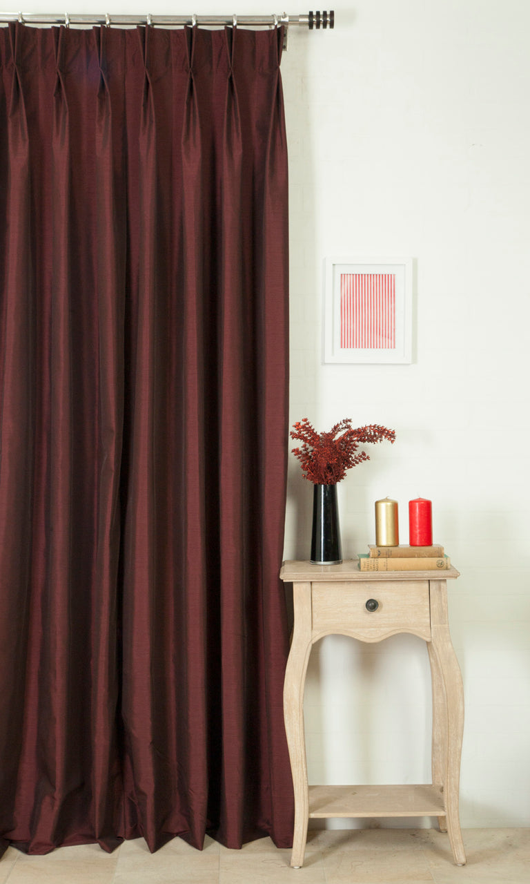 burgundy red custom curtains image. Narrow Curtains.