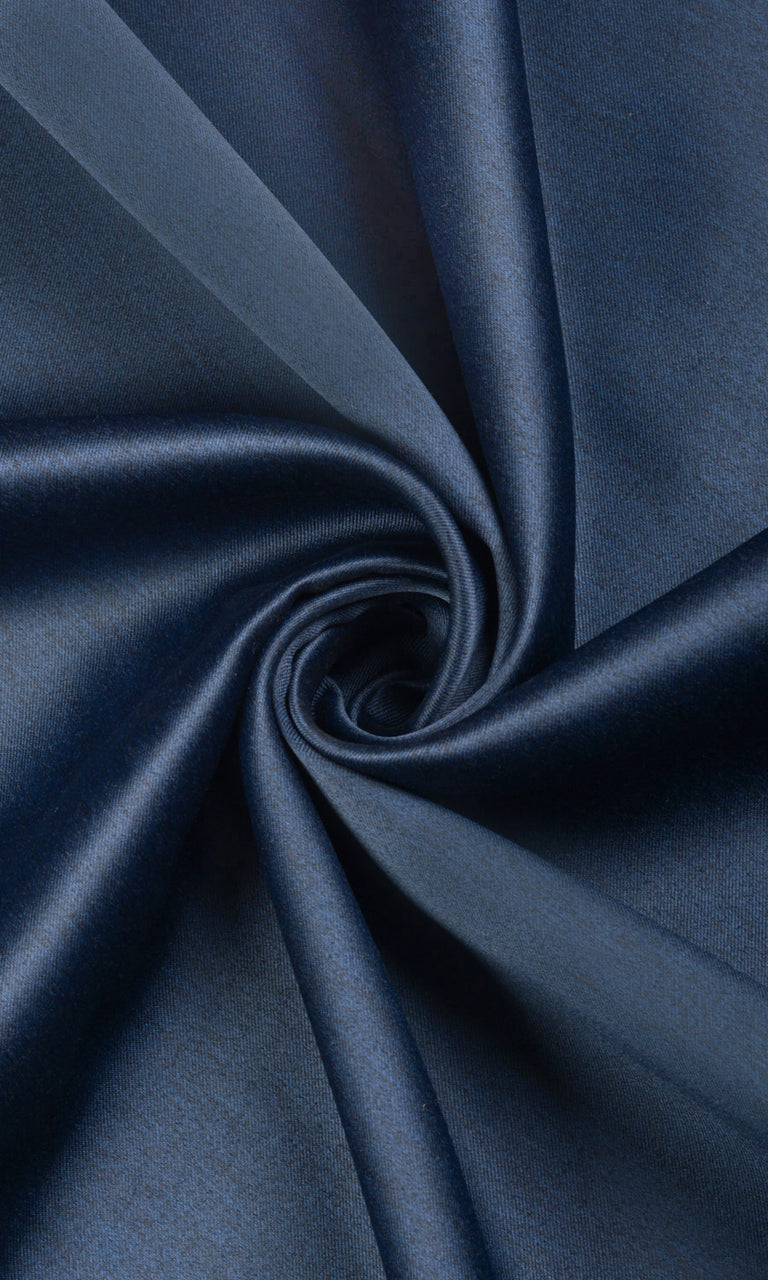 Blue Textured Room Darkening Blackout Drapes Image