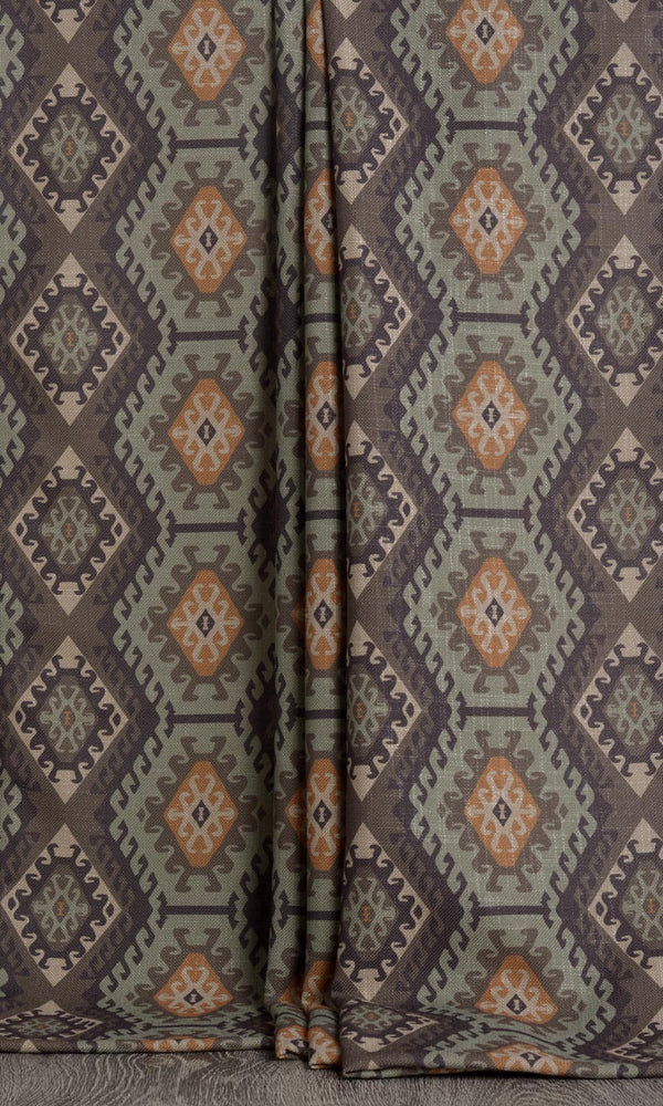 Kilim print curtains (Grey / Green)
