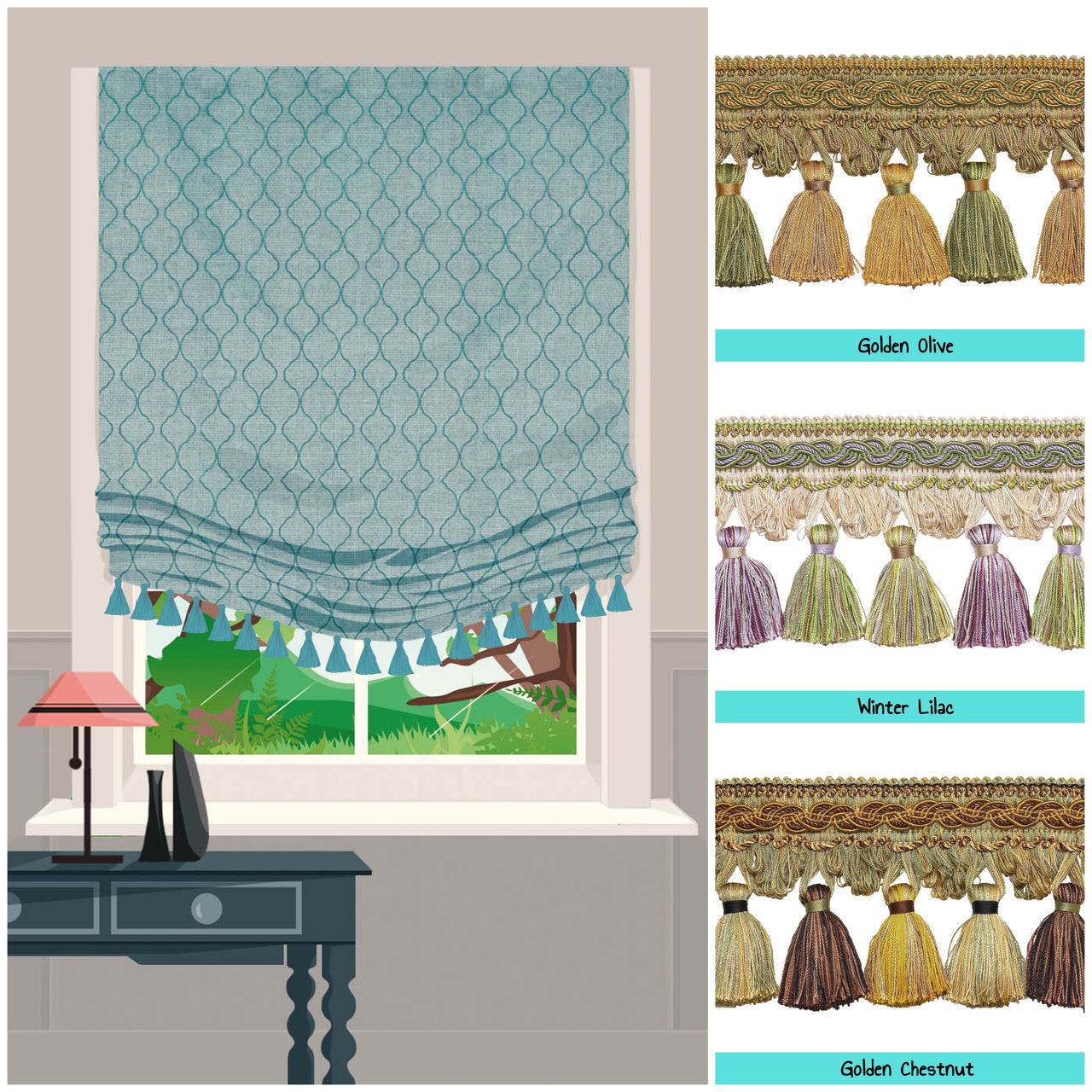 roman shades with tassel trim baroque