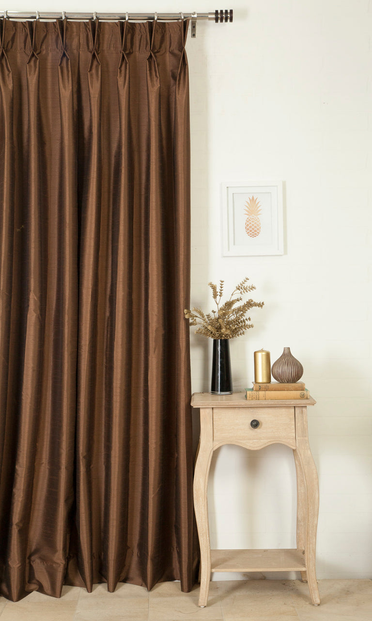 brown custom silk curtains image