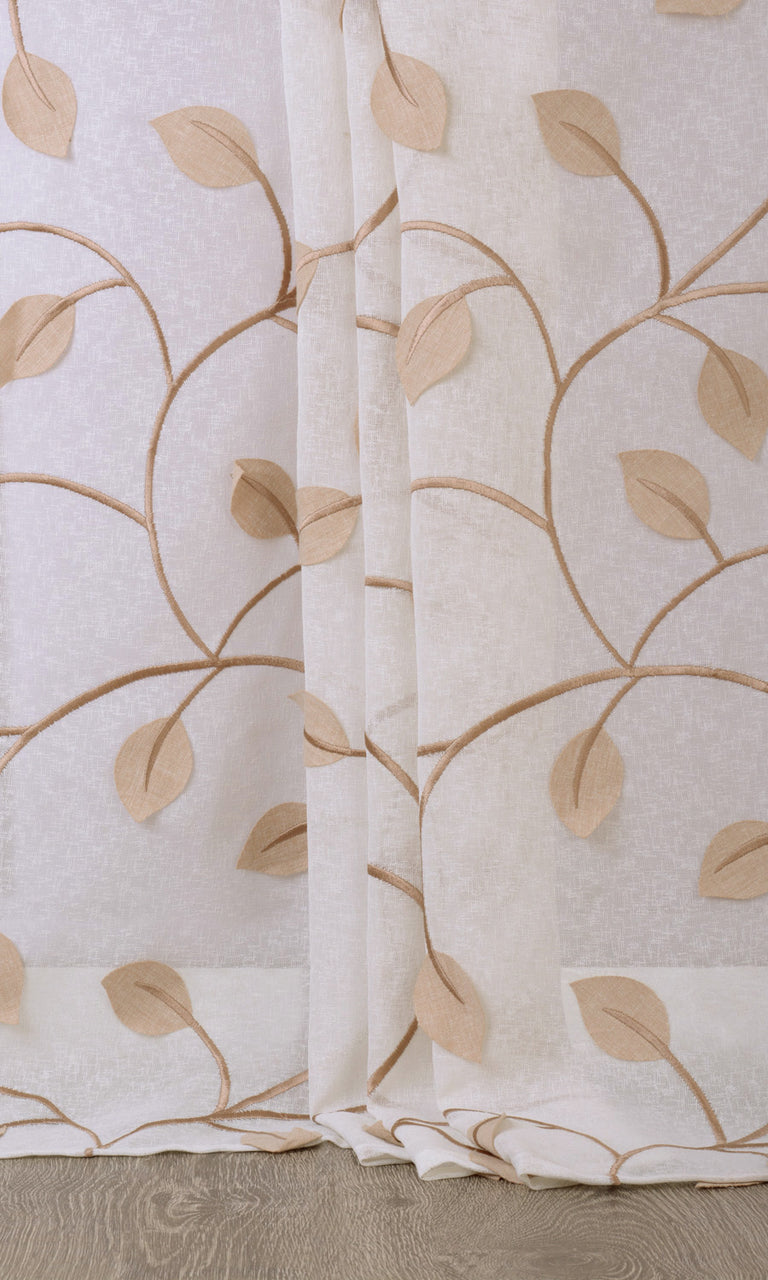 Floral white brown linen sheer curtains