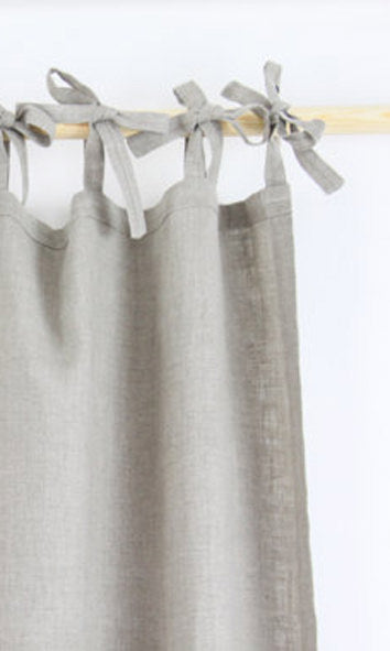 white custom natural linen curtains image