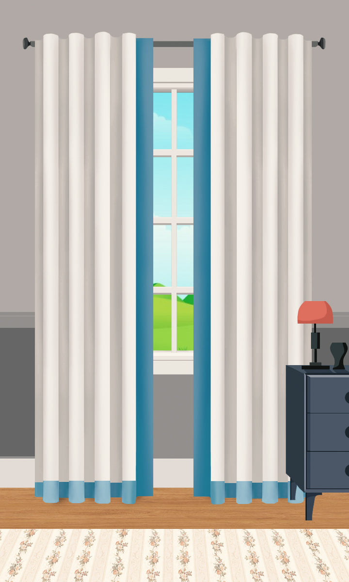 Two Tone Color Border Curtains I Free Shipping I Spiffy Spools