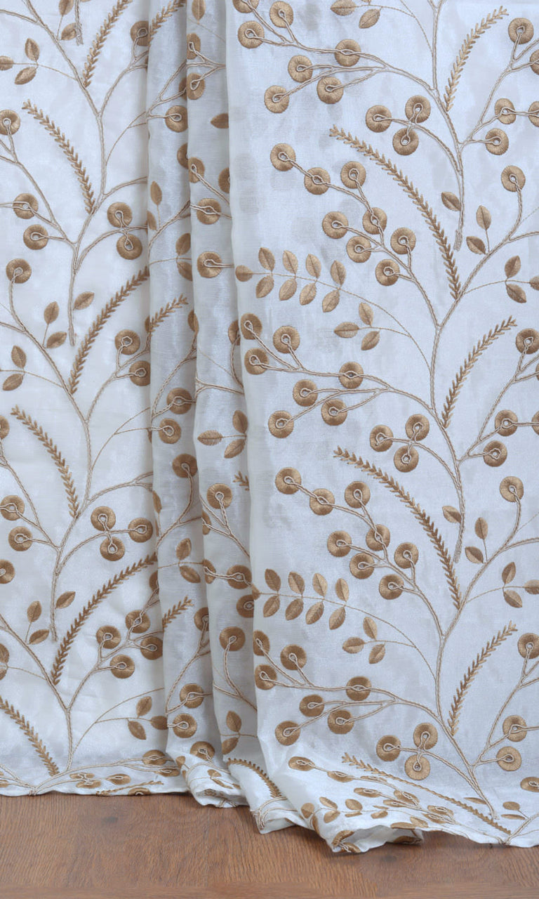 White / Golden Brown Sheer Embroidered custom Curtains