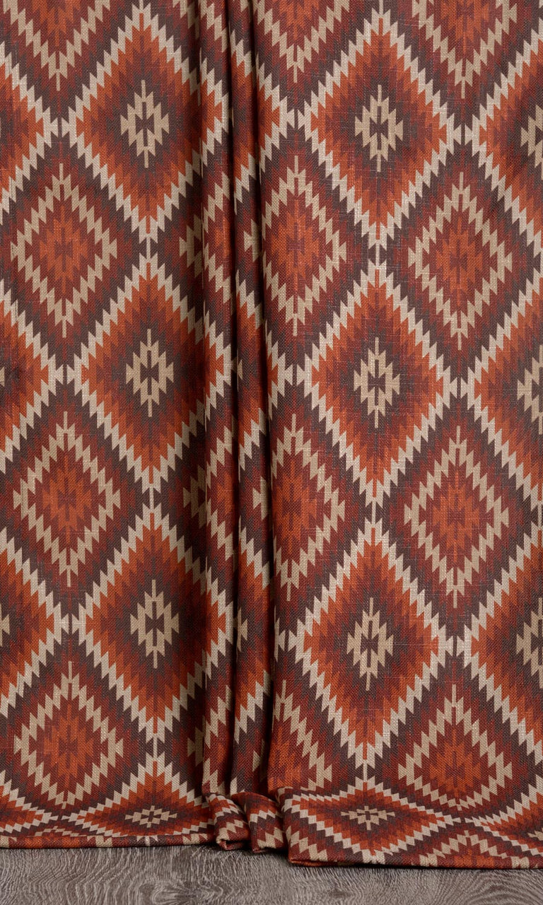 Kilim print curtains (Red / Orange)