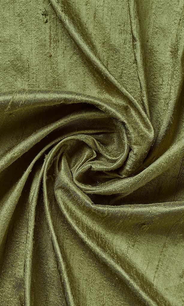 Dupioni Silk Window Curtains I Handstitched and Shipped for Free I Moss Green