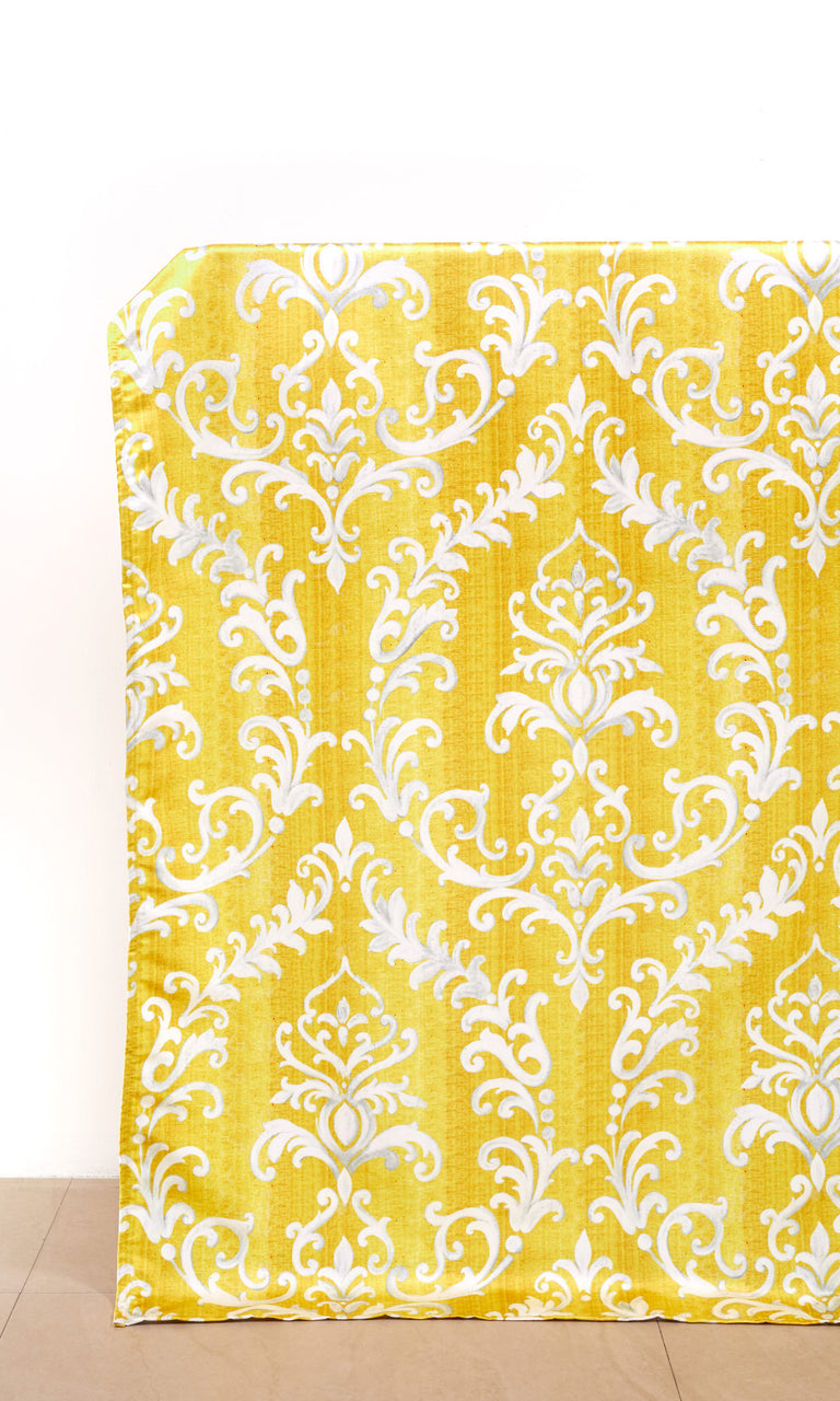 Yellow/ White custom Curtains
