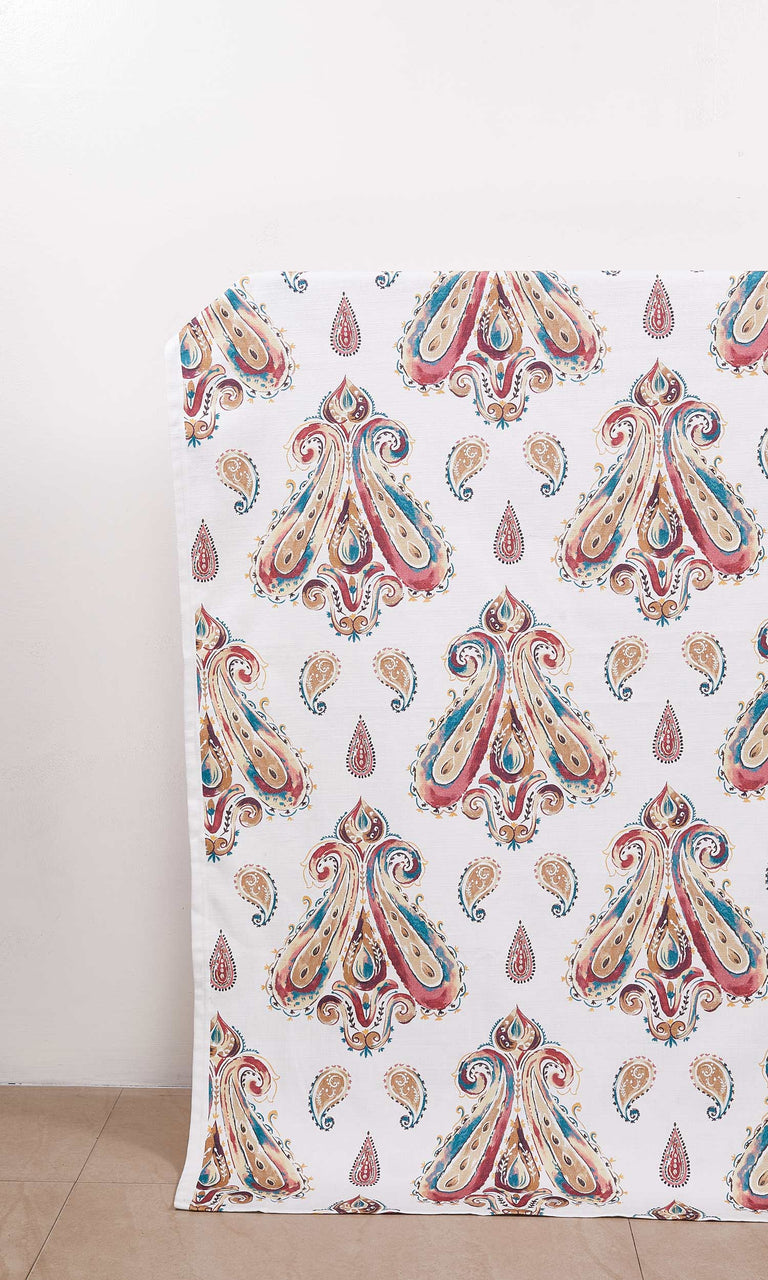 Burgundy, Beige & Teal Paisley Print custom Curtains I Extra Long