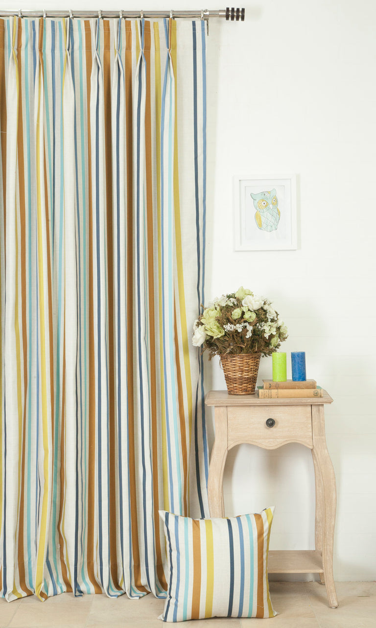 yellow blue and orange custom curtains image. Narrow Curtains.