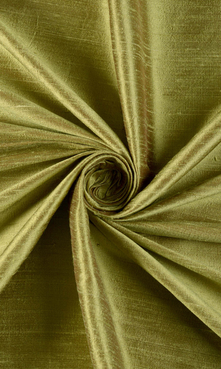 Dupioni Silk Window Curtains I Handstitched and Shipped for Free I Olive Green