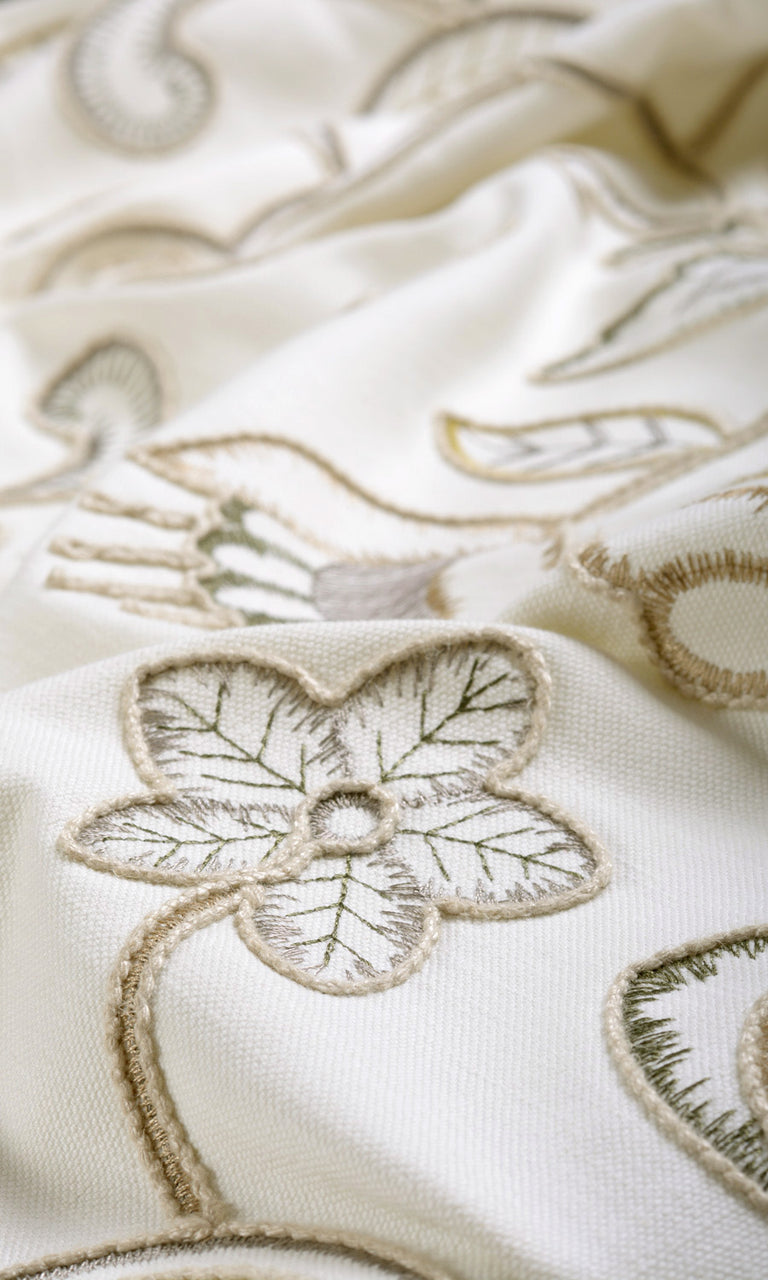 White Embroidered Roman Shades & Curtains. Narrow Curtains.