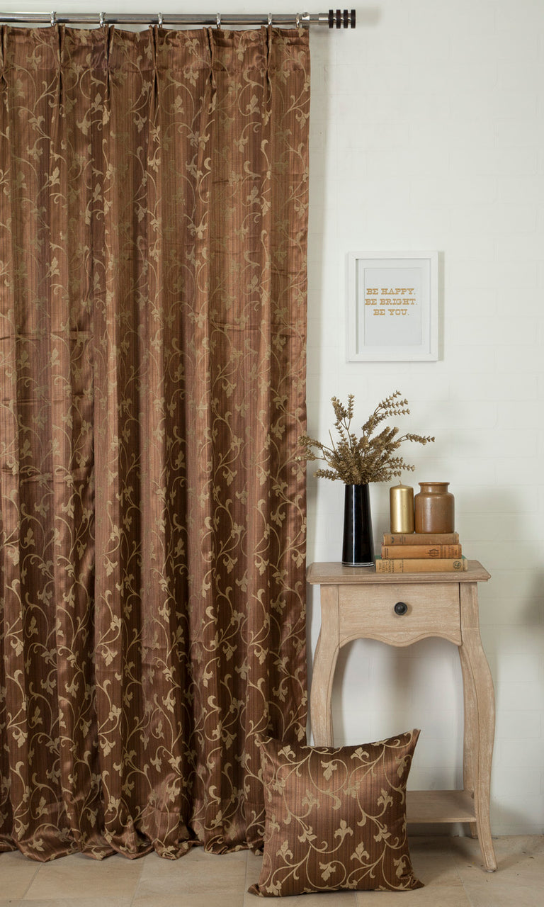 beige & brown custom curtains image