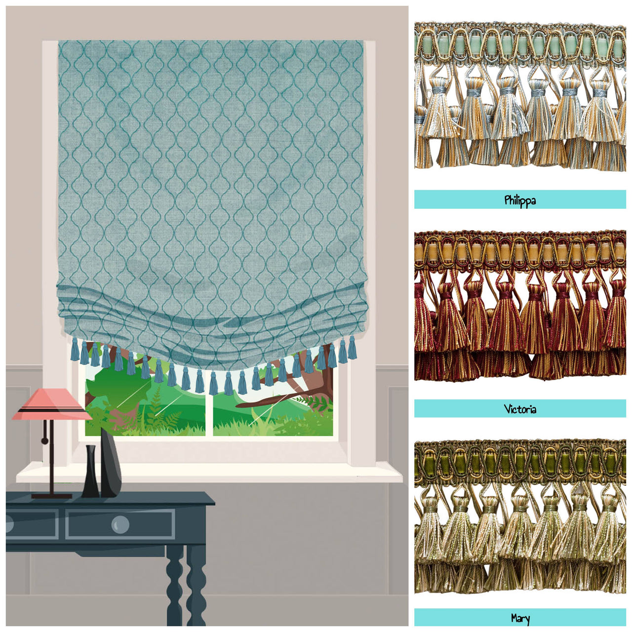custom roman shades with trims image
