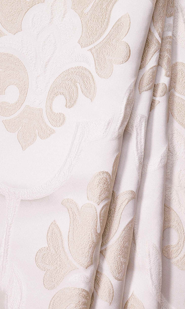 Beige & Cream Self-Patterned Damask custom Curtains
