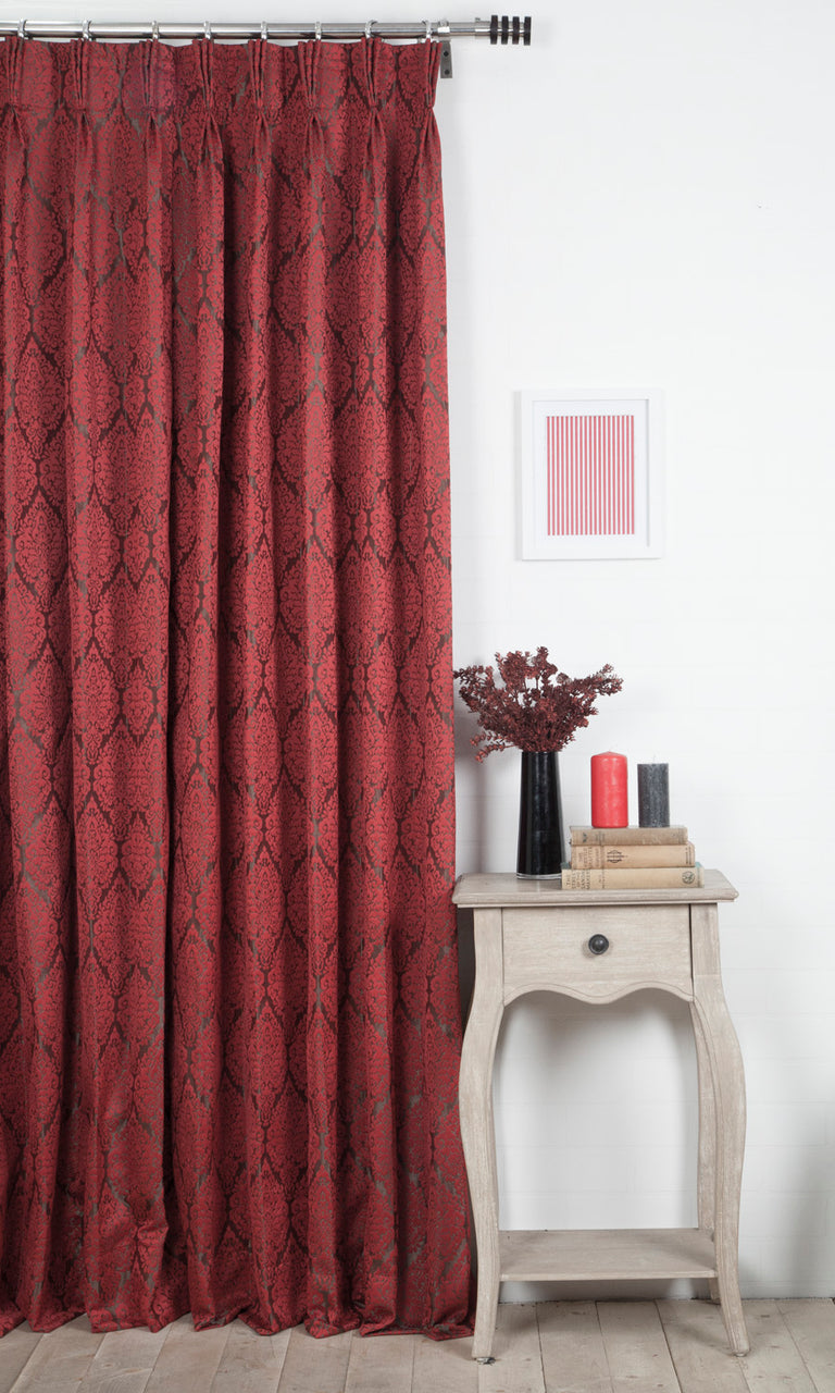 red custom curtains image