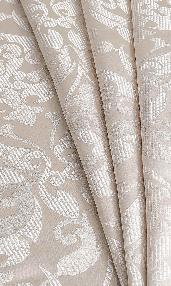 Pale Beige/Champagne Gold Self-Patterned custom Curtains