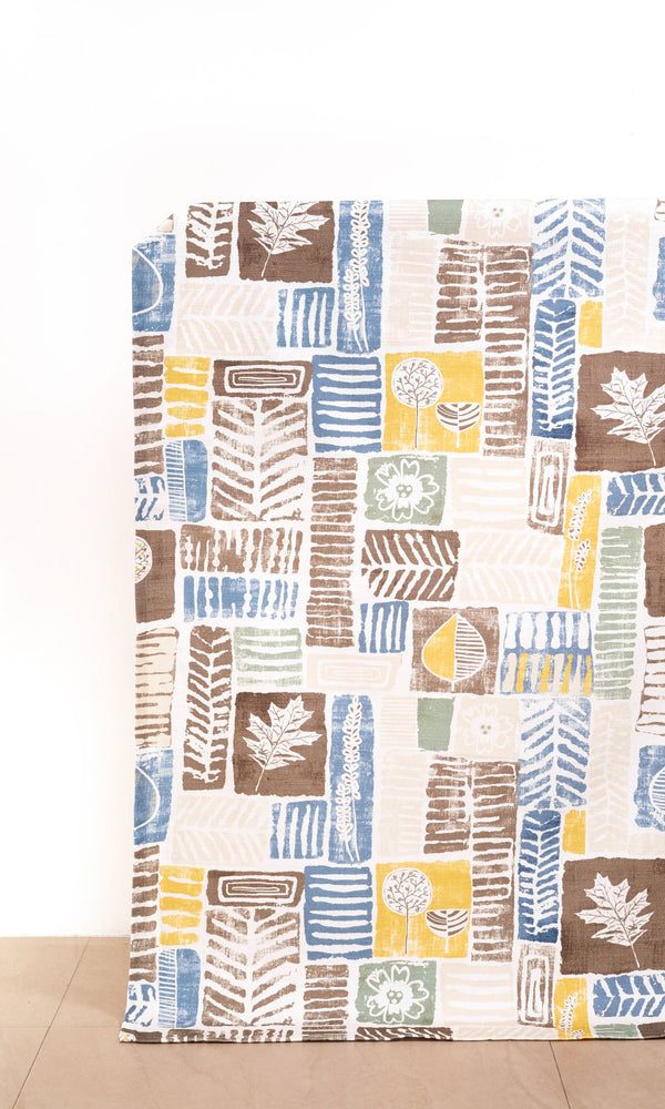 Cinnamon Brown/ Aegean Blue/ Golden Yellow custom Curtains