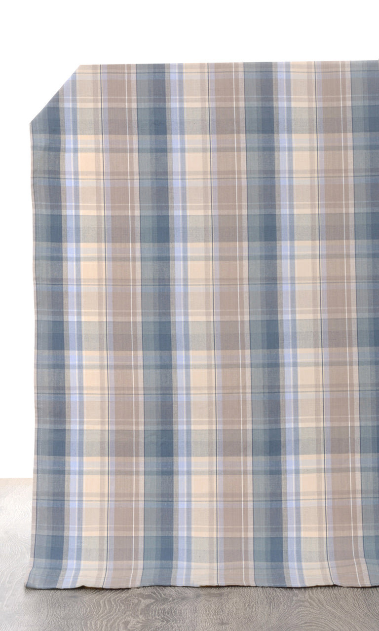 blue brown custom cotton curtains image. Short Length Curtains