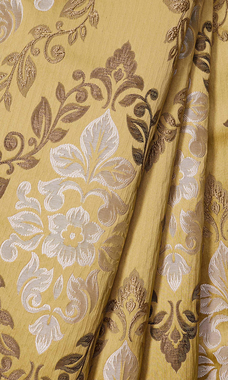 Mustard Yellow Damask Pattern custom Curtains