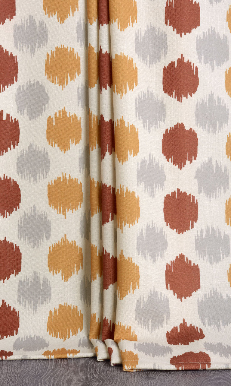 Nursery print orange mustard yellow striped curtains