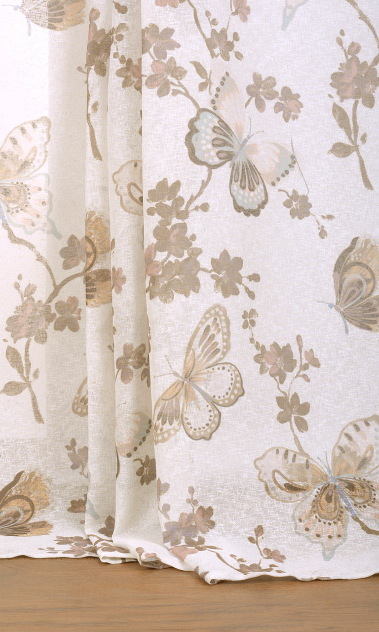 Floral white brown beige cream linen sheer curtains