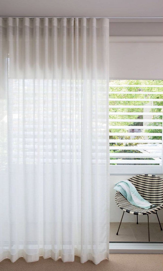 Extra Wide Sizes I Custom Curtains I Sheer White Linen Curtains I Leh Almost White Spiffy Spools