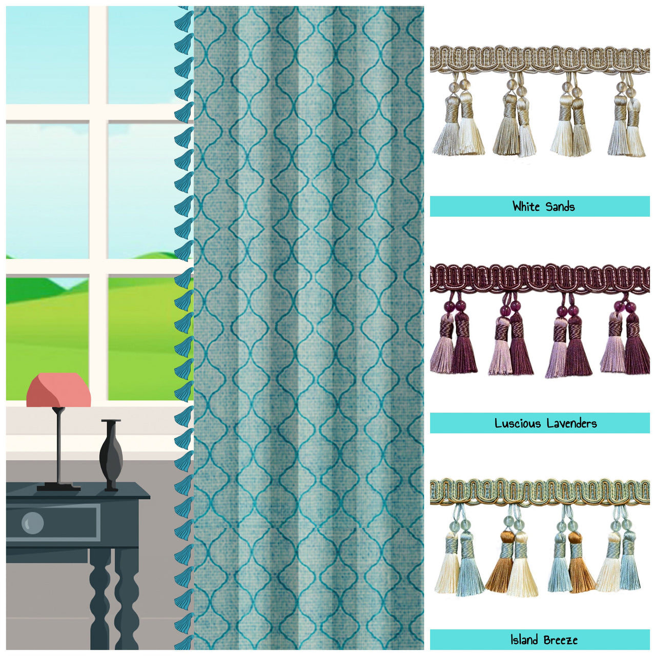 custom length drapes with trims photo
