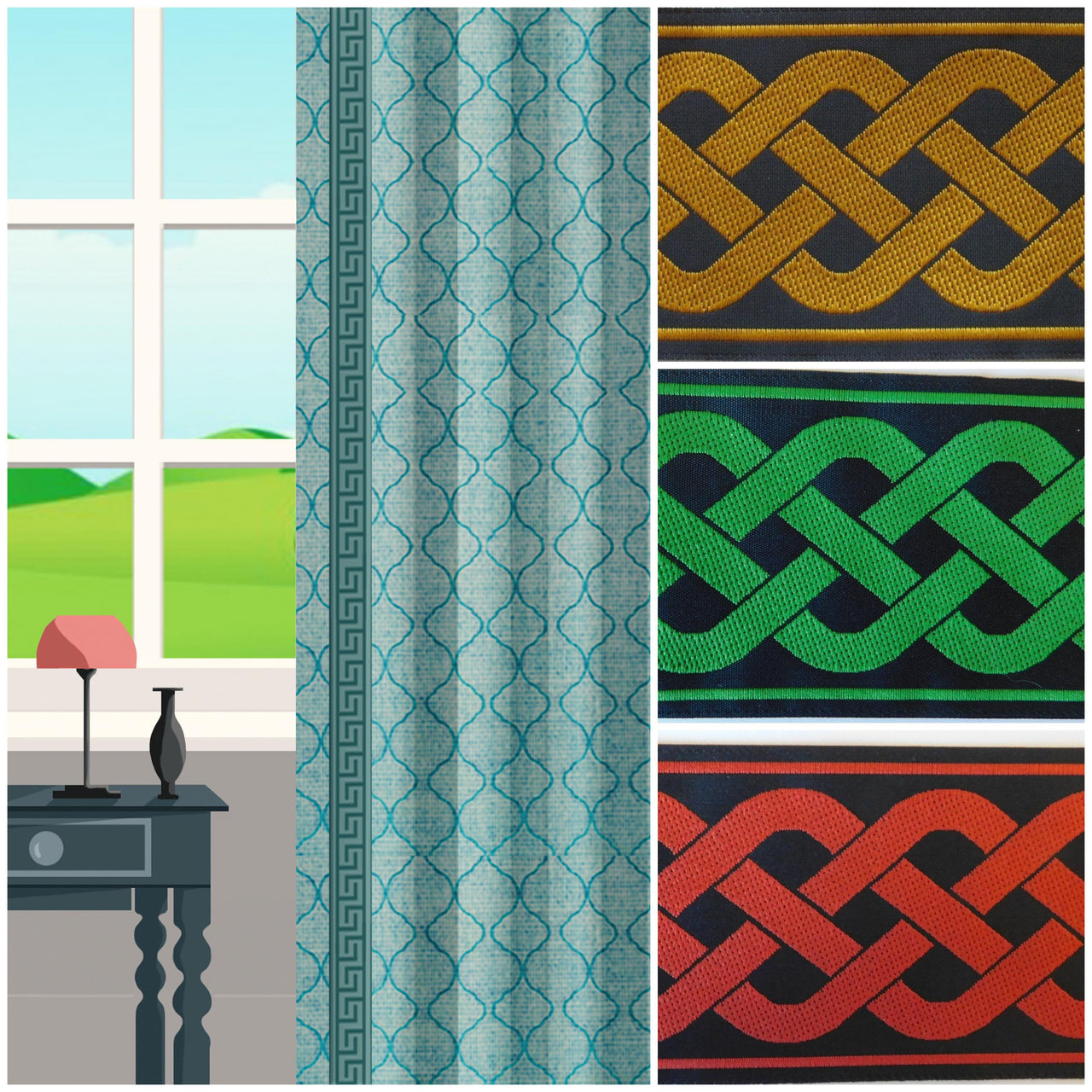 celtic knot trim for custom curtains