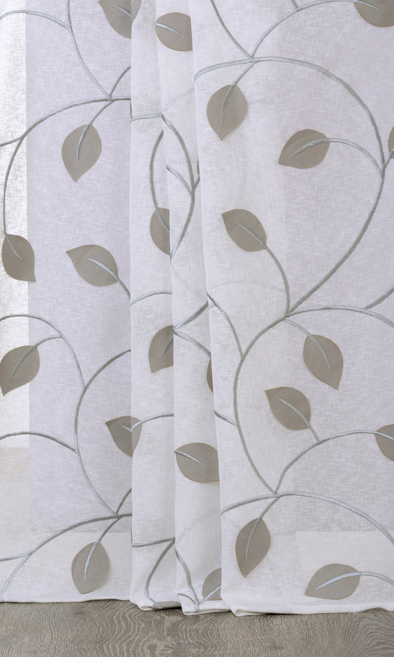 Floral white grey linen sheer curtains I Extra Long