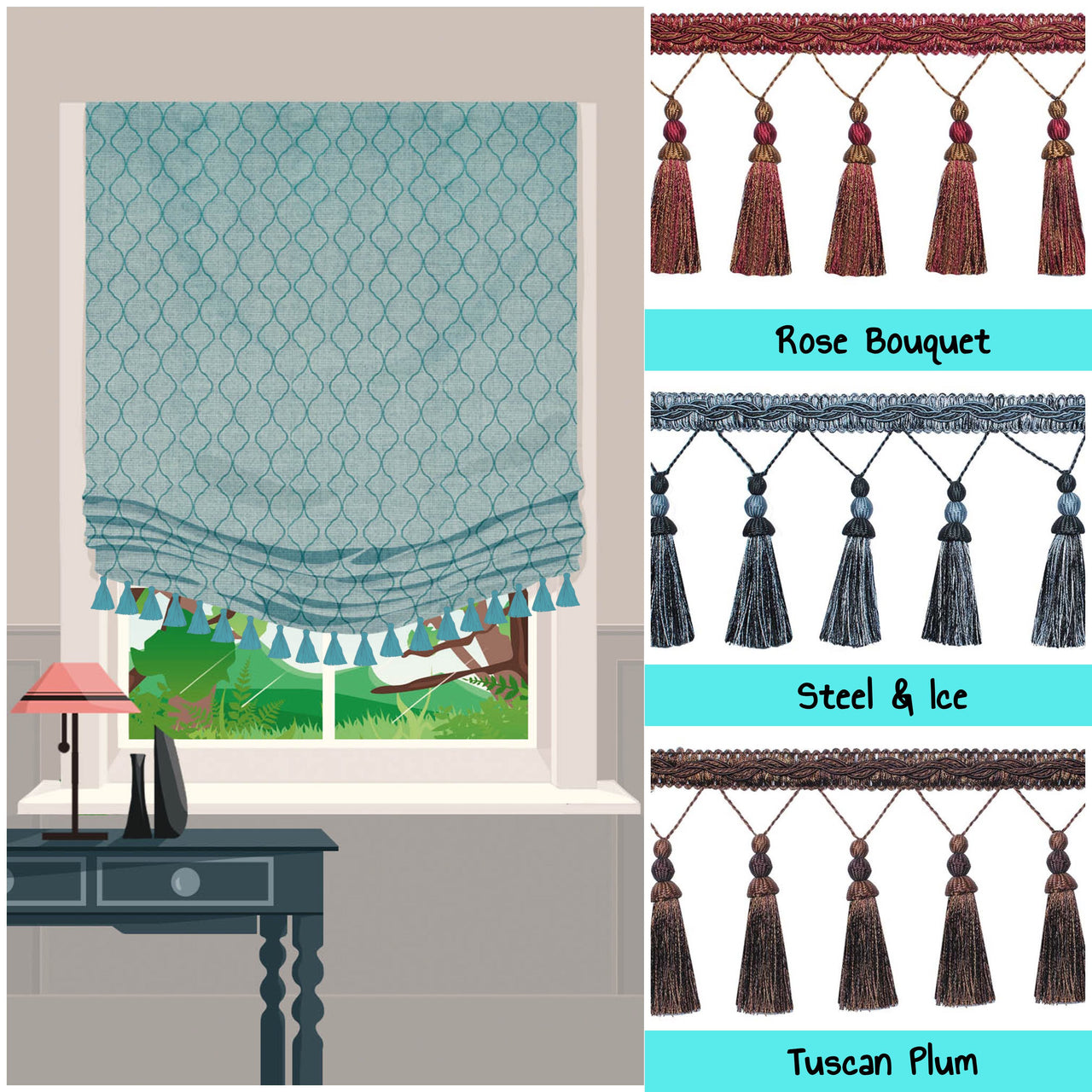 roman shades with tassel trim dijon
