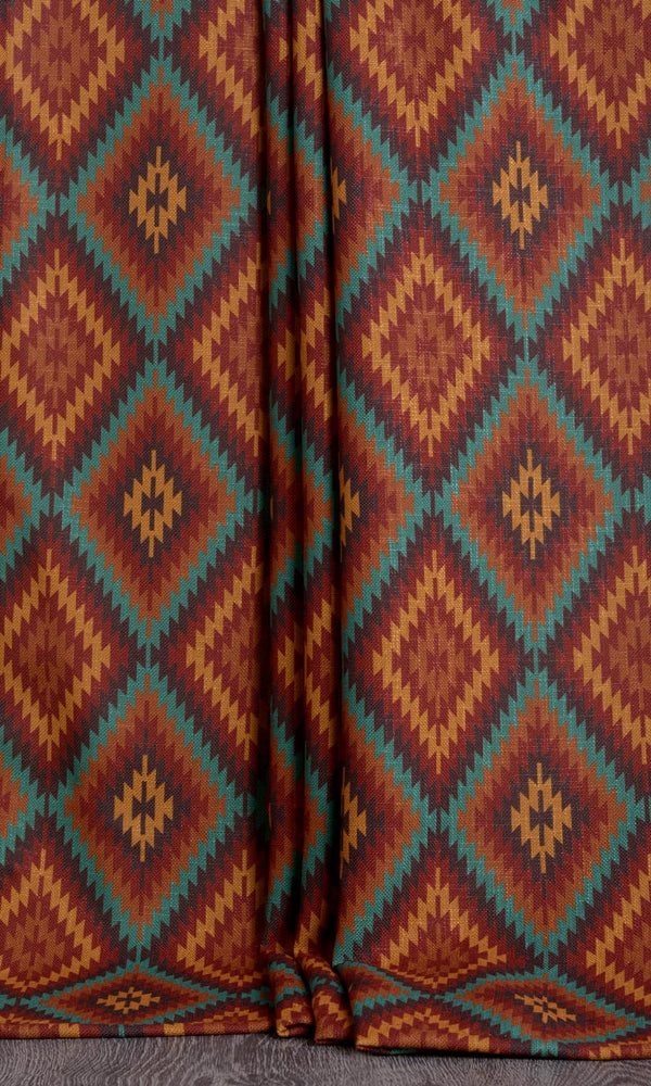 Kilim print curtains (Red / Orange / Blue)