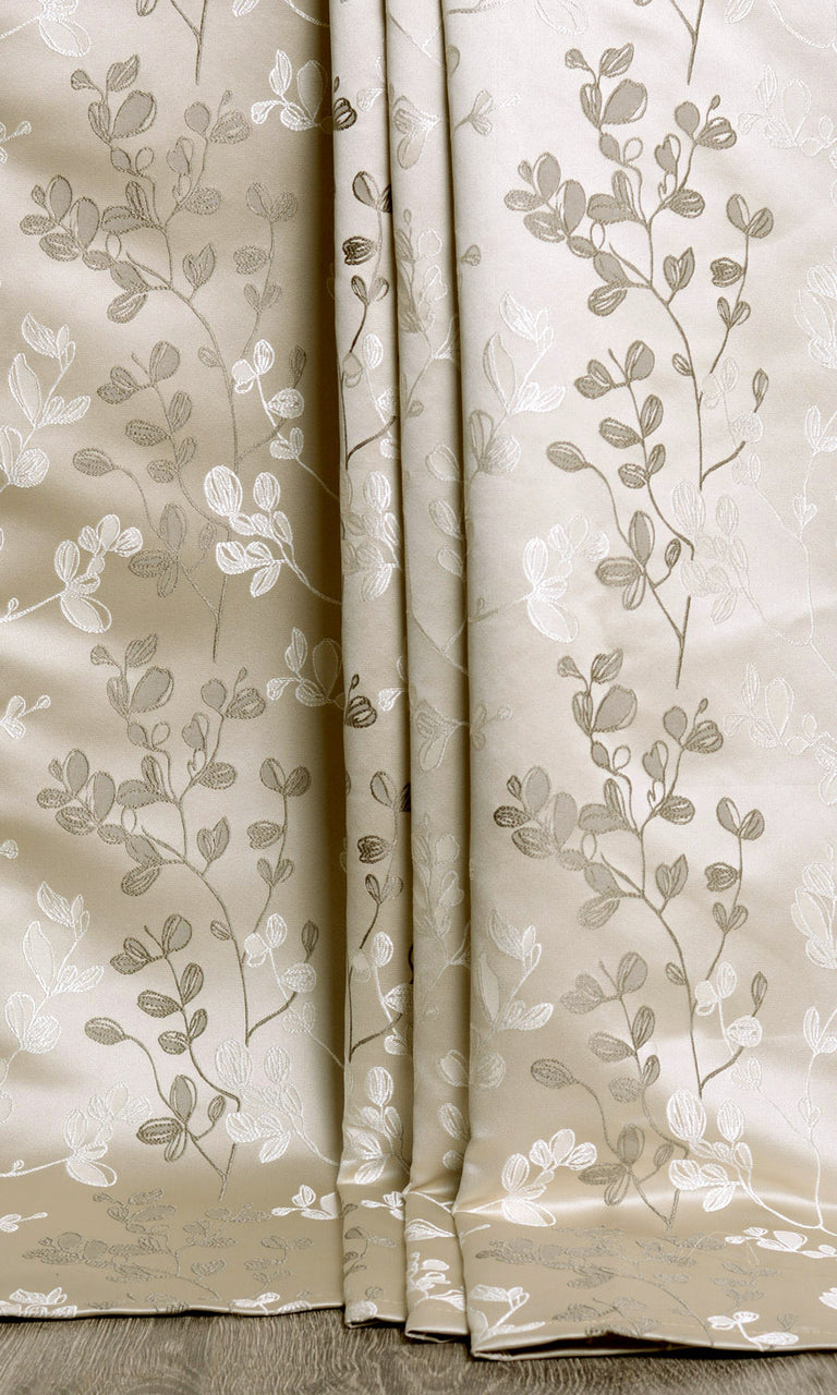 White / Beige / Green Semi Sheer Floral custom Curtains. Narrow Curtains.