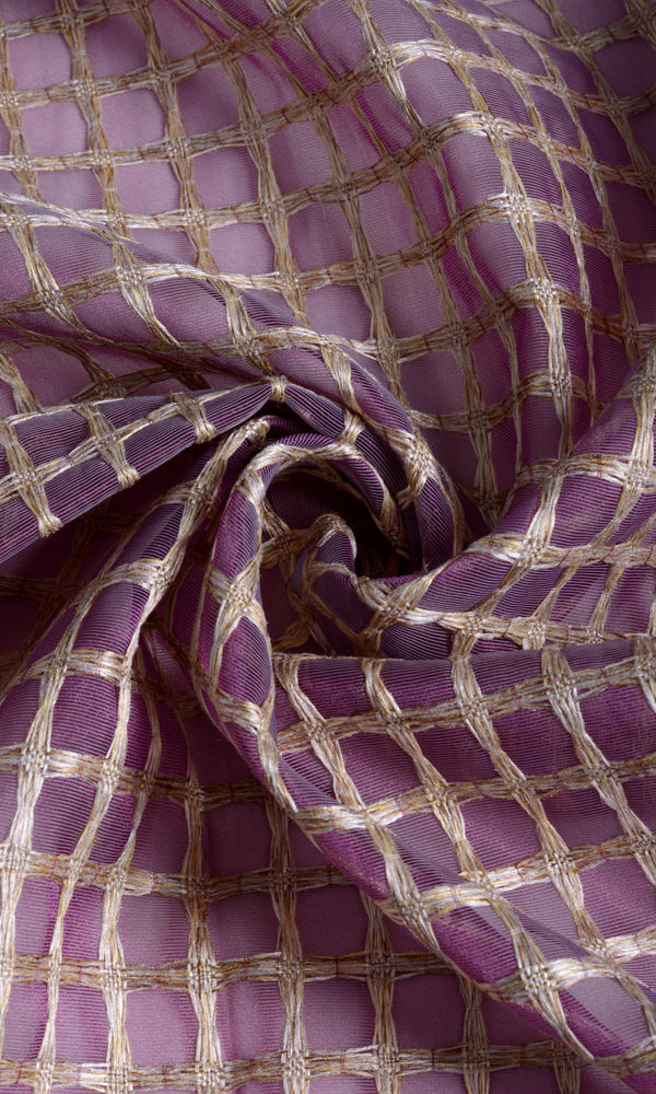 Purple with Gold Embroidery Check Sheer custom Curtains