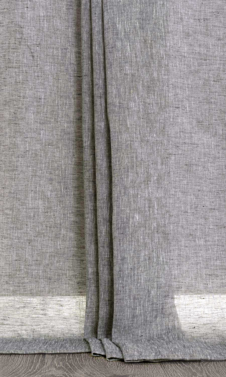 Budget Grey Textured Sheer Drapery Drapes Dinning Room Living Room Curtains Image