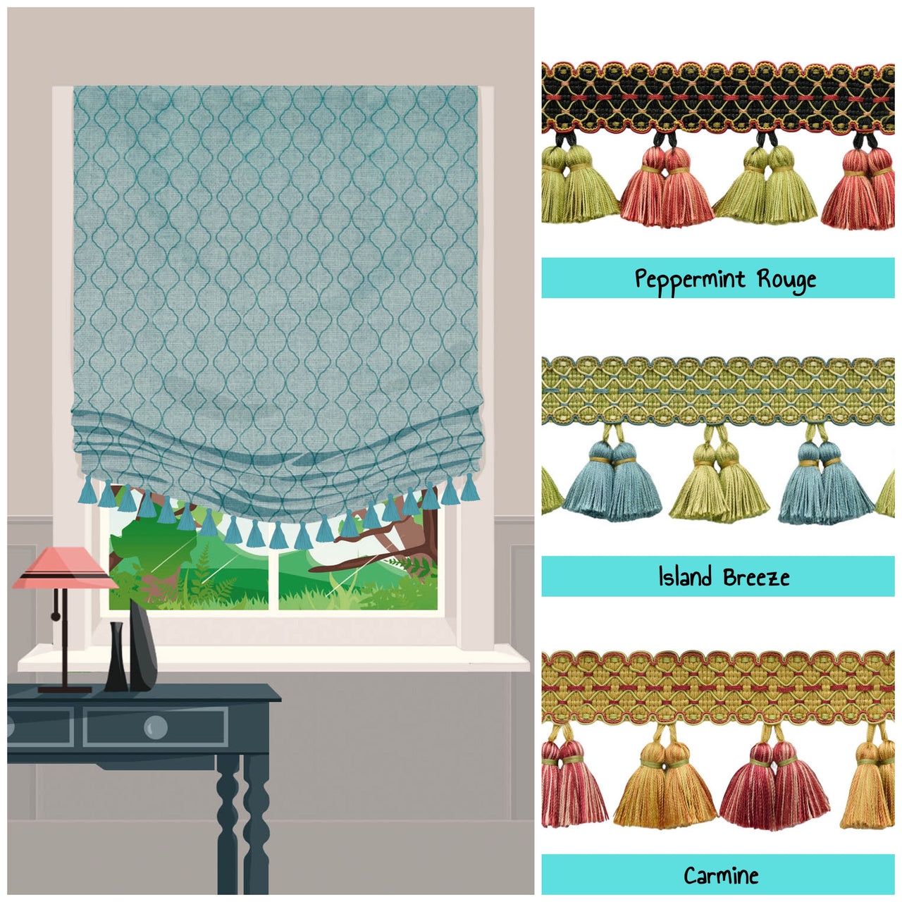 roman shades with tassels at border photo