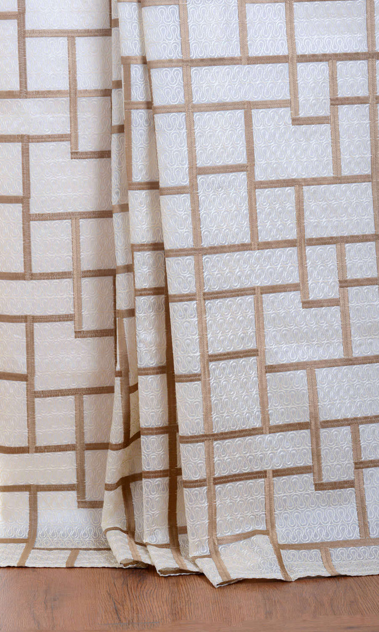 Cream brown sheer curtains. Narrow Curtains.