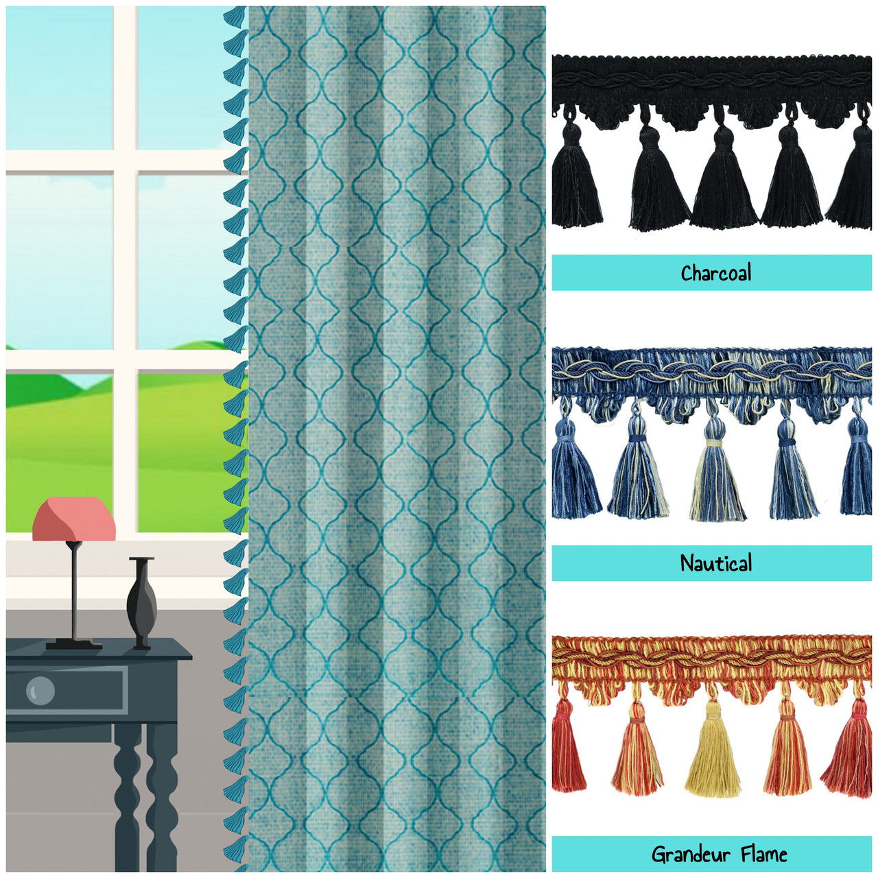 custom length drapes with tassels window curtains photo