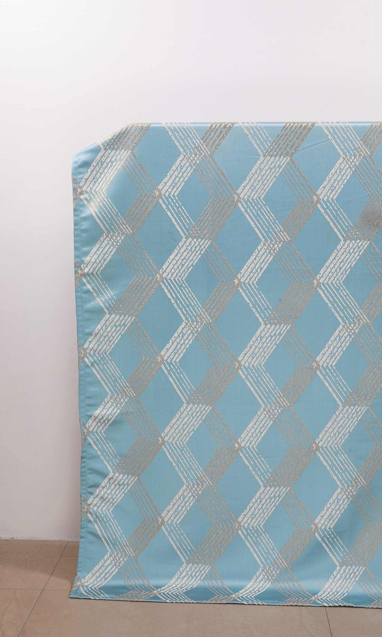 Blue Geometric Patterned custom Curtains