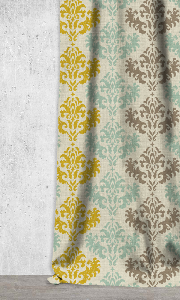 Damask Printed Window Curtains