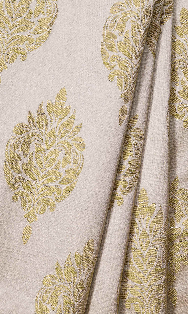 Green Self-Patterned Damask custom Curtains. Narrow Curtains.