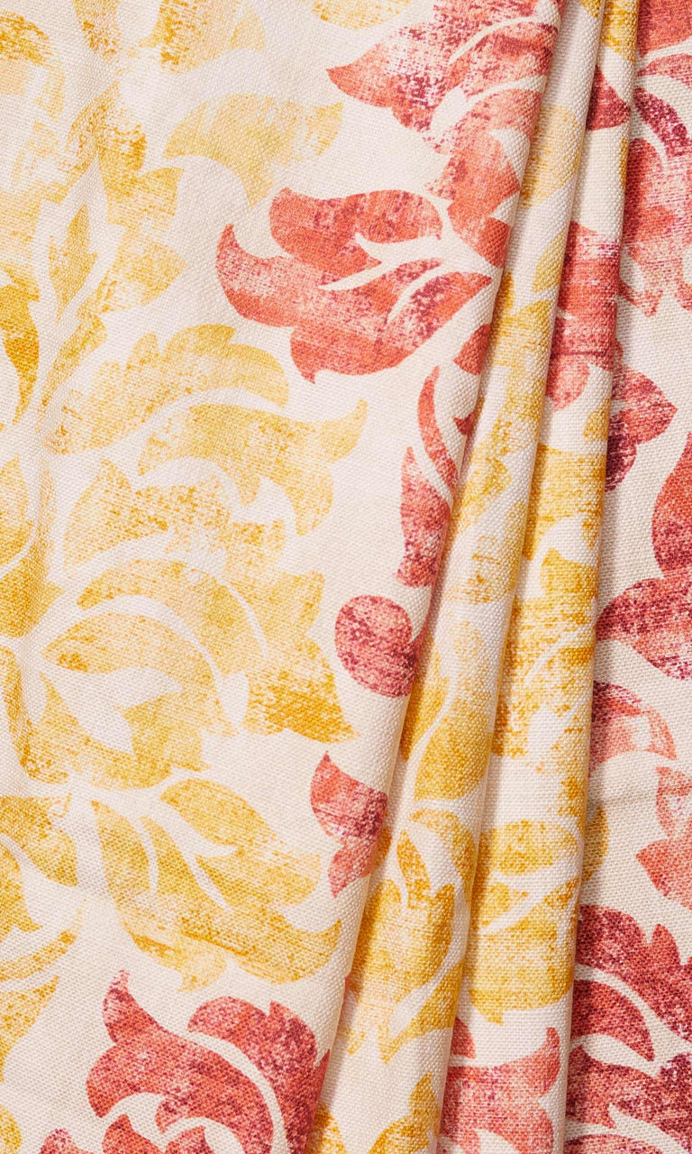 Crimson Red/ Scarlet Red/ Mustard Yellow Printed custom Curtains